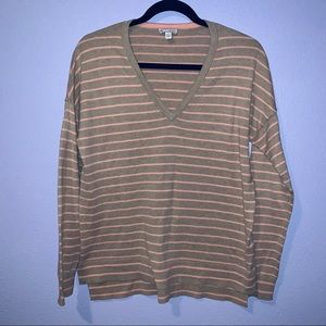 GAP | Oatmeal Stripe | V-Neck Sweater | Size Small